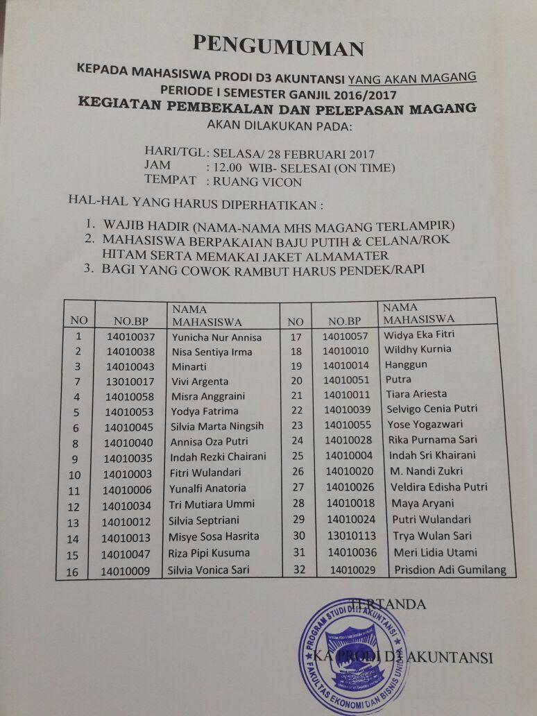 Pembekalan Magang D3 Akuntansi Febuari 2017